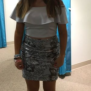 Dave & Johnny 2 Piece Grey Homecoming Dress #97495